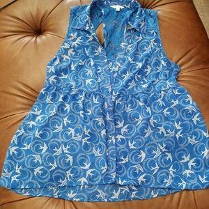 Candies XL Blue Dove Print Button Up Tank Blouse